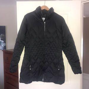 Eddie Bauer fur hood belted down parka coat